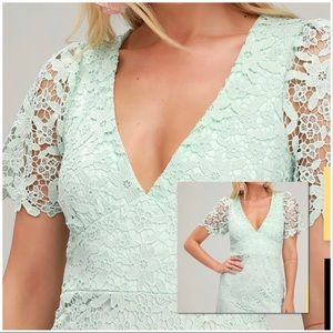 NWT Mint Lace Short Sleeve Mini Dress